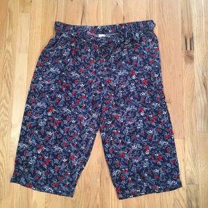 Terra & Sky blue floral wide leg Capri pants 2X